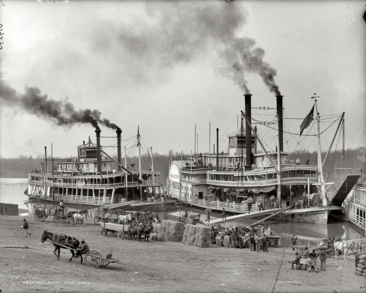 steamboats being loaded